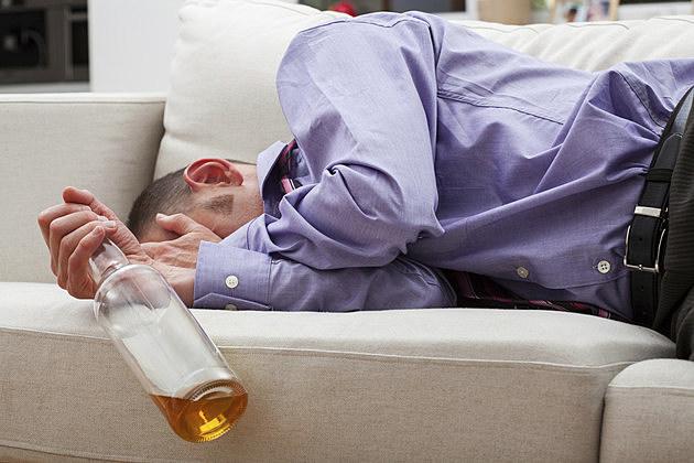 Drunk sleeping businessman